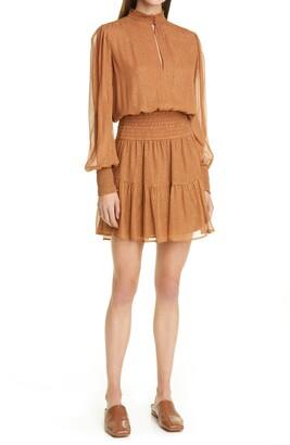 A.L.C. Silvie Smocked Long Sleeve Silk Blend Dress
