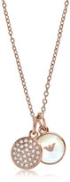 Emporio Armani Signature Rose Goldtone Necklace w/Double Charms