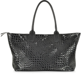 Forzieri Large Black Woven Leather Tote