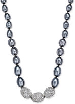 Charter Club Silver-Tone Imitation Pearl and Cubic Zirconia Necklace, Only at Macy's