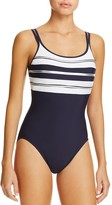 Miraclesuit Sports Page Rigamarol Stripe One Piece Swimsuit