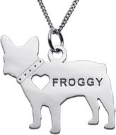 JCPenney FINE JEWELRY Personalized French Bulldog Sterling Silver Pendant Necklace
