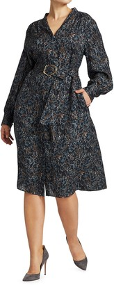 Lafayette 148 New York, Plus Size Clementine Belted Long-Sleeve Silk Dress