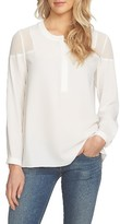 1 STATE Women's 1.state Sheer Shoulder Henley Top