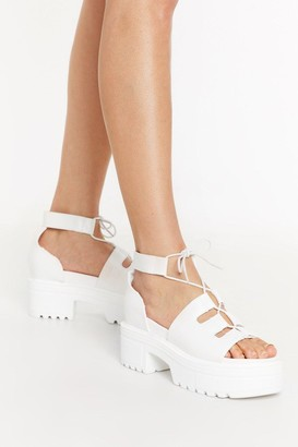 Nasty Gal Womens Lace Cool Down Faux Leather Platform Sandals - White