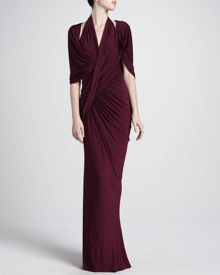 Donna Karan Draped Capelet Gown