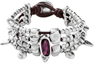 Uno de 50 Arrow Me Beaded & Bezel Set Swarovski Crystal Accented Multi Strand Leather Bracelet