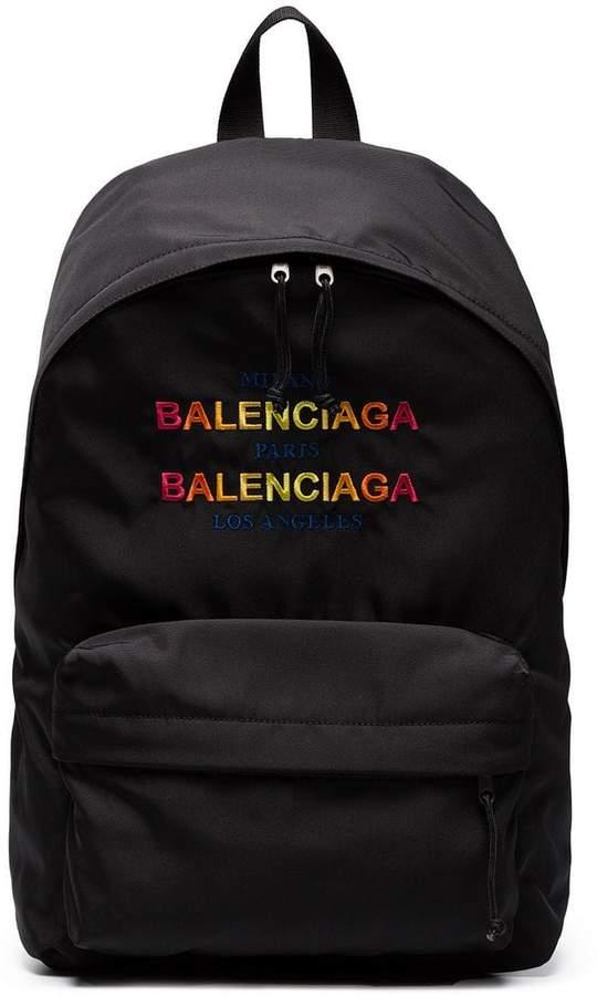Balenciaga Black Logo Explorer Backpack