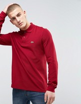 Lacoste Long Sleeve Pique Polo Regular Fit in Bordeaux