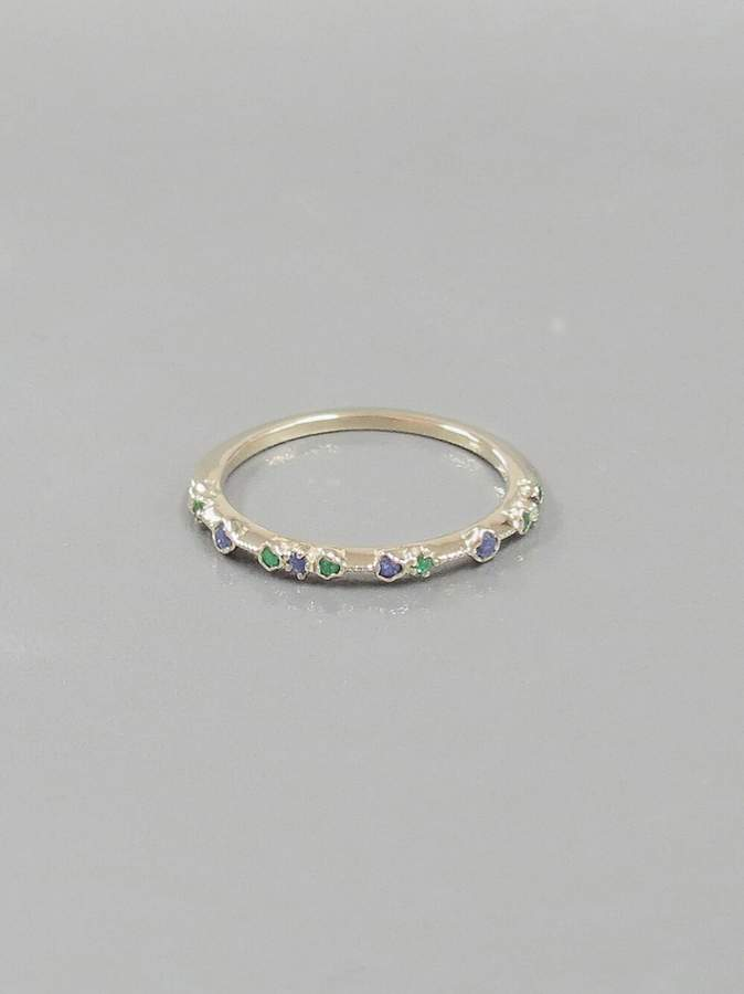 BEIGE Kataoka Blue Sapphire and Emerald Dotted Ring Gold