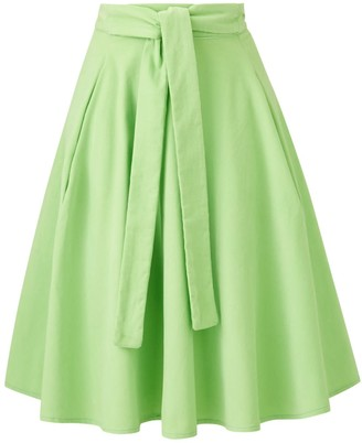 Cocoove Eadie Circle A-Line Pocket Midi Skirt In Green