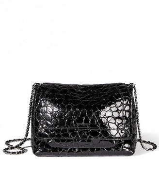 Jerome Dreyfuss Lulu Medium Bag in Croco Noir Lambskin