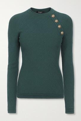Balmain Button-embellished Jacquard-knit Sweater - Emerald