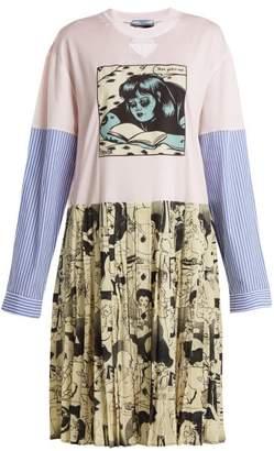 Prada Comic-print Cotton-jersey And Silk Dress - Womens - Pink Multi