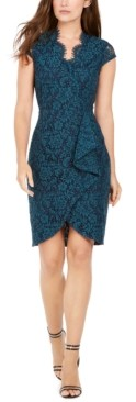 Vince Camuto Petite Lace Ruffled Sheath Dress
