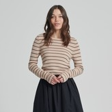 Naadam Striped Long Sleeve Cropped Ribbed Top Beige and Faded Army Green