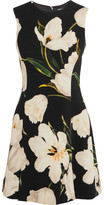 Dolce & Gabbana Floral-print Wool-crepe Mini Dress - Black