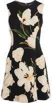 Dolce & Gabbana Floral-print Wool-crepe Mini Dress - Black