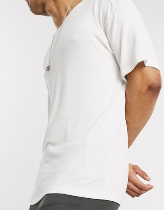 Lockstock box fit t-shirt with dropped shoulder in white