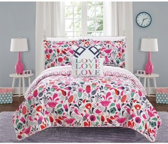 Chic Home Vetheuil 4 Piece Reversible Quilt Set Colorful Floral Print Design Coverlet Bedding