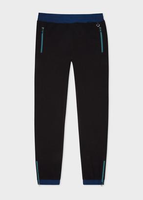Paul Smith Men's Black Cotton-Blend Contrast Panel Sweatpants