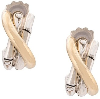 John Hardy 18kt yellow gold and sterling silver small J hoop earrings
