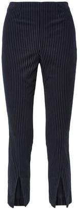 Frame Split-front Striped Stretch-cotton Corduroy Slim-leg Pants