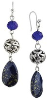 Target Distributed Women's Rhodium Faceted Teardrop and Artisan Beads Dangle Drop Earrings - Silver/Blue