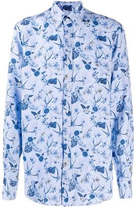 Paul & Shark Tropical Floral-Print Button Down Collar Shirt