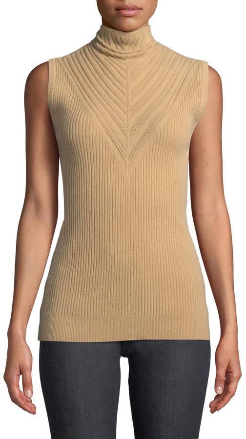 Elie Tahari Natalia Sleeveless Turtleneck Ribbed Merino Wool Sweater