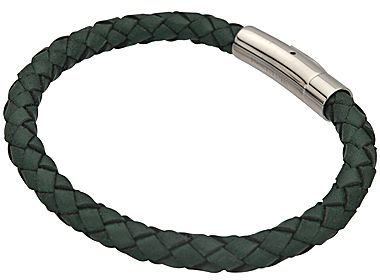 JCPenney Braided Green Leather & Stainless Steel Bracelet