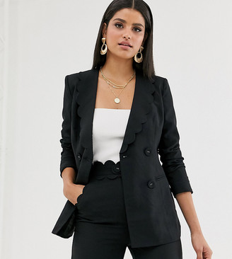 Fashion Union Tall blazer with scallop colar co-ord-Black