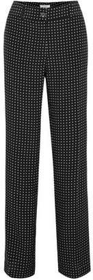 Equipment Lita Polka-dot Washed-silk Wide-leg Pants