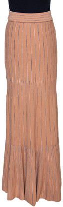 M Missoni Dark Beige Striped Knit Maxi Skirt S