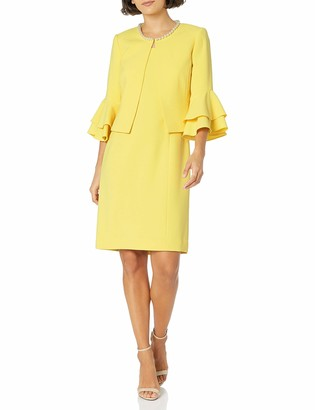 Tahari ASL Women's Petite Ruffle Sleeve Open Jacket Dress Suit