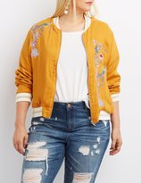 Charlotte Russe Plus Size Floral Embroidered Bomber Jacket