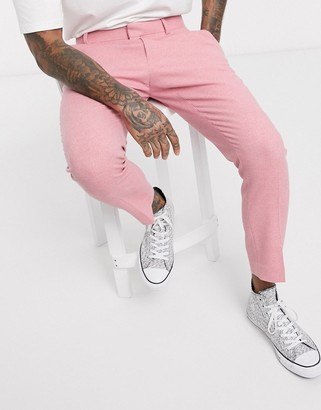 Pink Twill ASOS DESIGN skinny smart pants in wool mix and side adjusters