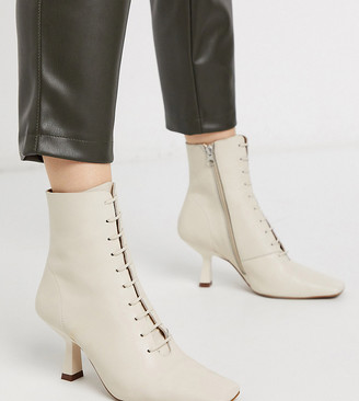 CHIO Exclusive lace up heeled ankle boots in ivory leather