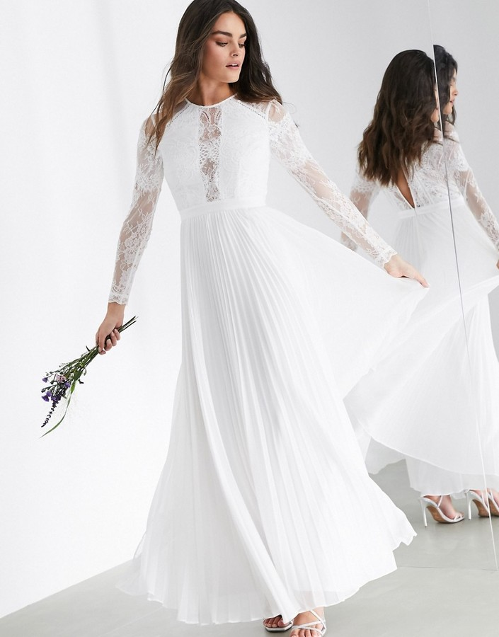 Thumbnail for your product : ASOS EDITION Iris long sleeve lace bodice maxi wedding dress with pleated skirt