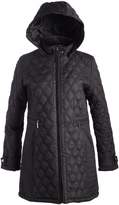 Weatherproof Black Faux Leather-Accent Quilted Coat
