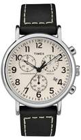 Timex Weekender Chronograph Watch with Leather Strap - Silver/Black TW2R42800JT