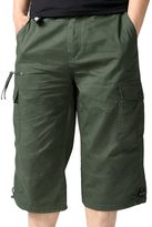 SiYang Man Cargo Shorts for Men Elastic Waist Multi-Pocket Outdoor Wear(Belt Included)(,XXL)