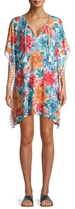 Time and Tru Novelty Rib Caftan Swimsuit Cover Up