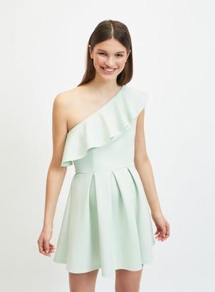 Miss Selfridge Mint Green One Shoulder Scuba Mini Dress