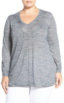 Sejour Plus Size Women's Space Dyed V-Neck Sweater