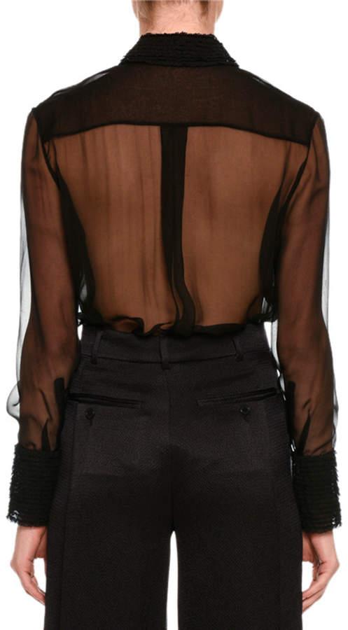 Valentino Long-Sleeve Lace-Trim Chiffon Blouse