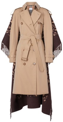 Burberry Blanket Fringe Back Trench Coat