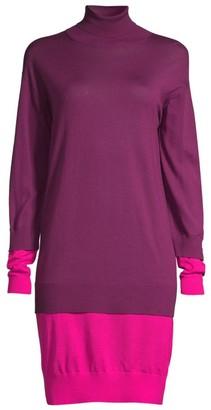 Escada Sport Dilara Colorblock Virgin Wool Turtleneck Sweater Dress