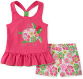 Kids Headquarters 2-Pc. Turtle Tank Top & Floral-Print Shorts Set, Little Girls