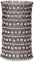 Thierry Mugler Angel Jewelry Women's Multilayer Crystal Wide Stretch Cuff Bracelet 7 Row